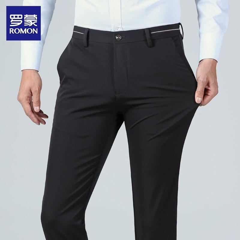 罗蒙休闲裤男士中青年商务修身西裤2021春夏季工装裤男直筒长裤子