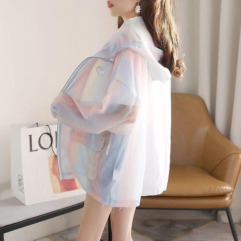 彩虹防晒衣女长袖夏2021新款韩版洋气外套超薄款宽松百搭上衣服潮