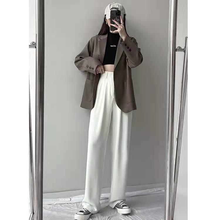 高腰西装裤女直筒宽松2021春秋新款垂感拖地裤白色阔腿裤子长裤