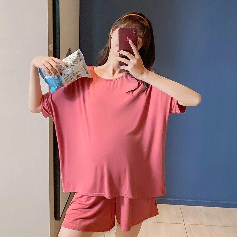 孕妇夏装套装莫代尔睡衣夏季居家两件套怀孕期短袖孕妇家居服薄款