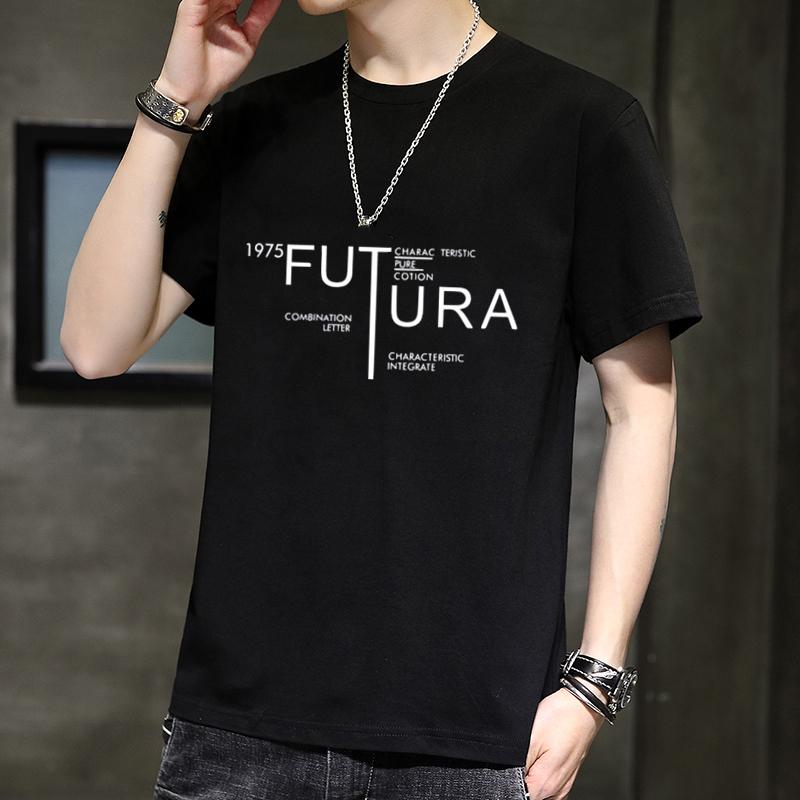 夏季新款ins短袖男士t恤圆领半袖修身青年韩版潮流印花男装上衣