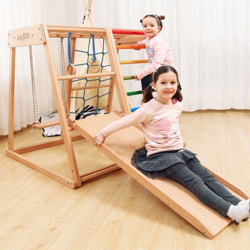 Jollybaby 迷你实木攀爬架儿童室内健身架宝宝家用滑滑梯秋千