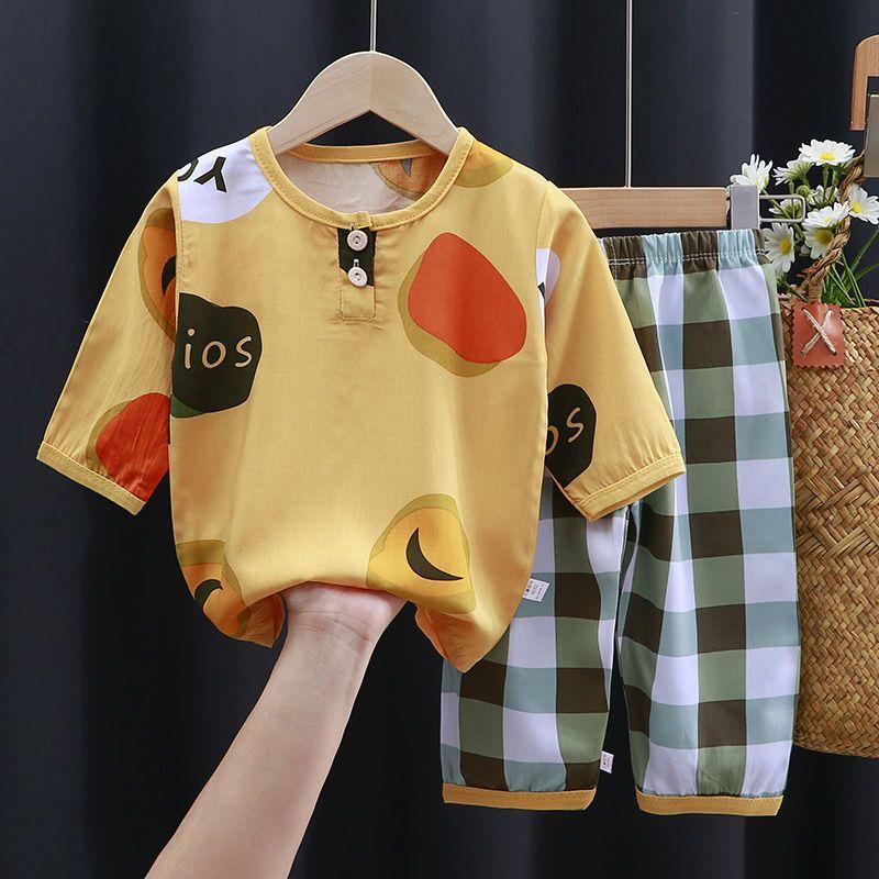 儿童睡衣套装薄款男孩女童夏季装绵绸空调服宝宝衣服中大童家居服