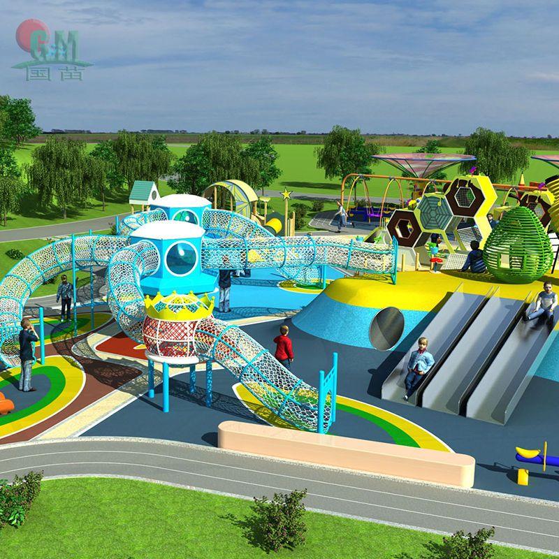 户外景点大型游乐场设施公园小区幼儿园滑梯蹦床游乐园设备定制