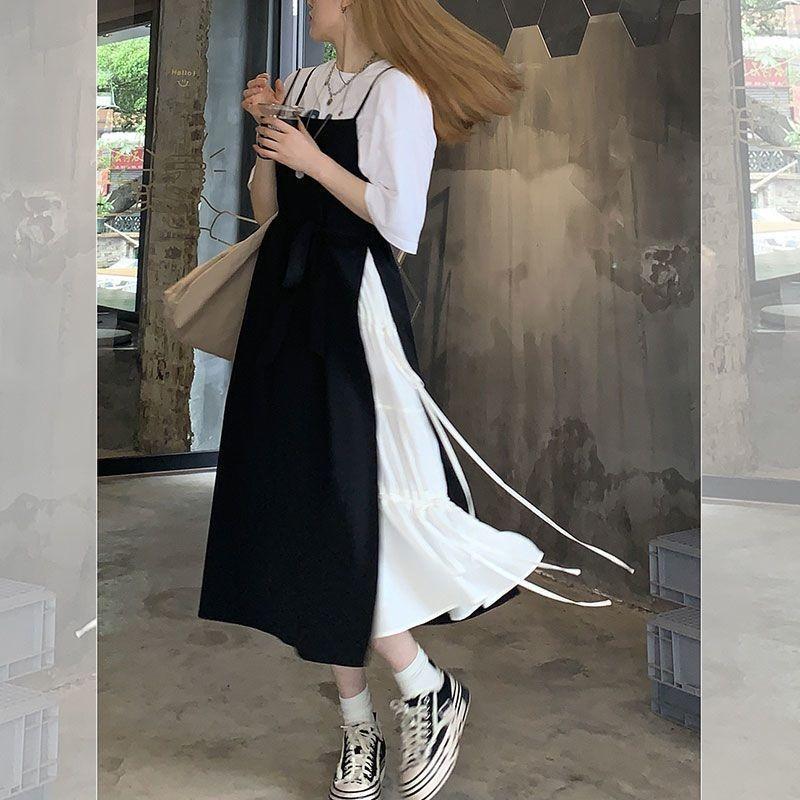 热卖新款胖mm大码女装白T恤设计感拼接显瘦连衣裙200斤小众吊带裙