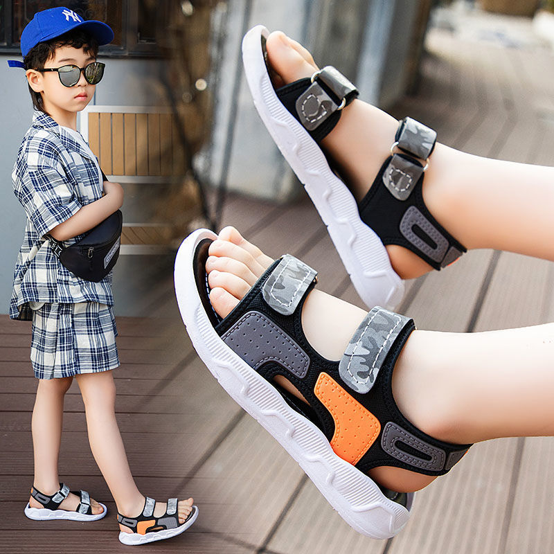 2021新款儿童凉鞋男夏季韩版防滑软底沙滩迷彩男童凉鞋