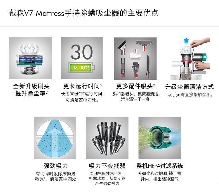 正品国行戴森(Dyson)V7 Mattress 除螨仪 手持无线吸尘器家庭适用家好月圓慶中秋