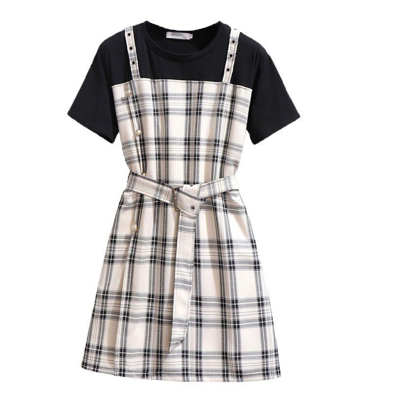 热卖新款假两件格子背带裙夏季韩版连衣裙女高腰气质显瘦裙子收腰