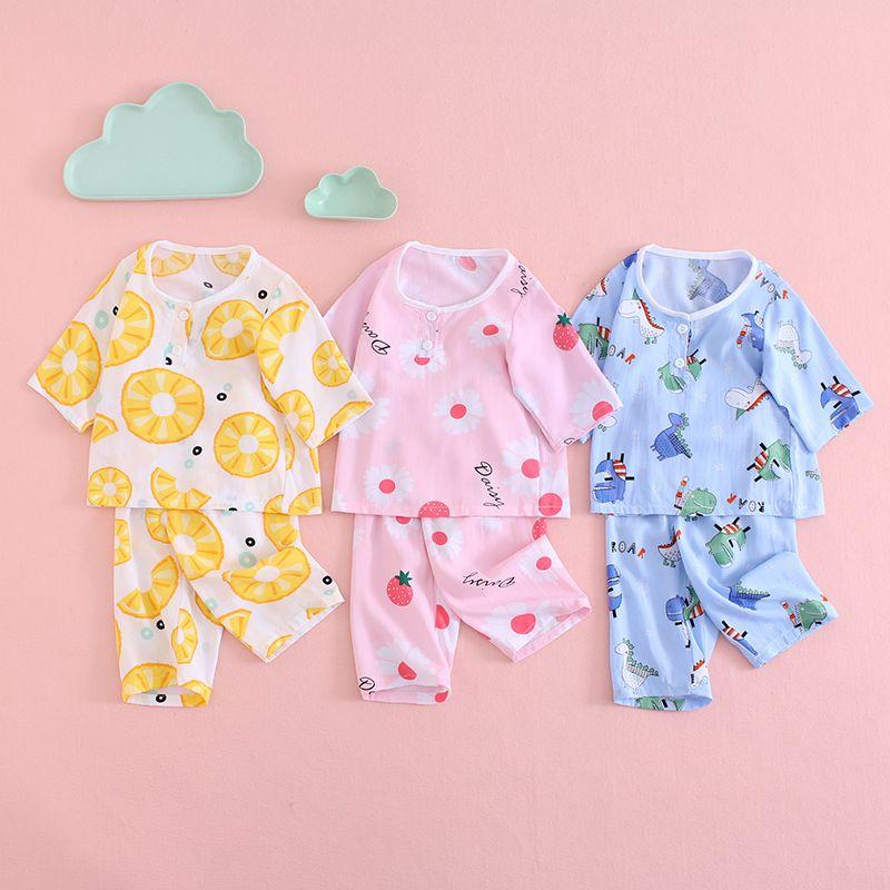 儿童棉绸睡衣夏季薄款男童女童绵绸空调服中大童七分袖套装家居服