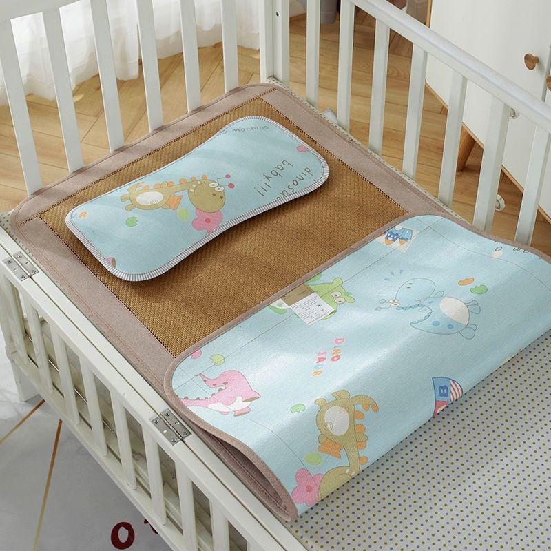 幼儿园午睡藤席宝宝婴儿床冰丝凉席婴儿凉席儿童透气新生儿席子夏主图4