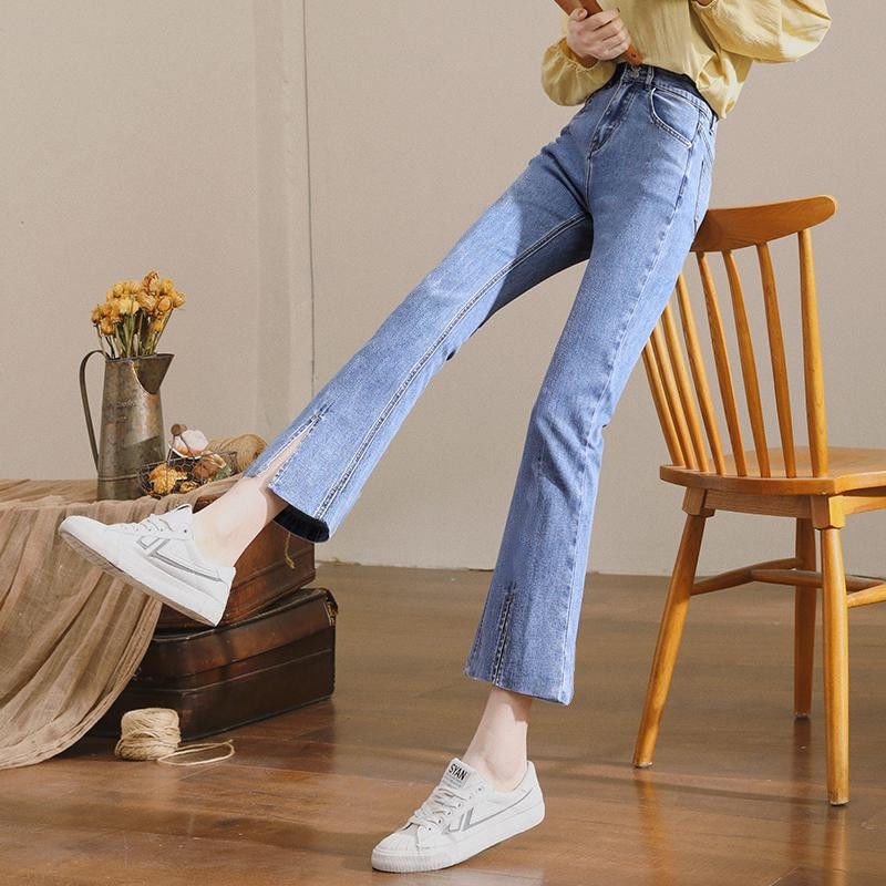 热卖新款微喇牛仔裤女高腰修身2021年新款春季开叉显瘦九分喇叭裤