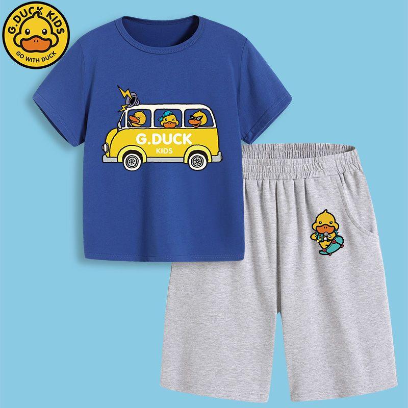 54290-正品小黄鸭夏季新款儿童五分裤短袖T恤两件套男童中小童卡通套装-详情图