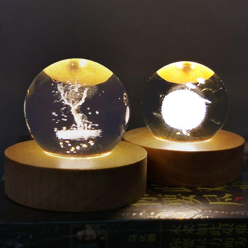 浪漫温馨小夜灯女生床头卧室装饰台灯水晶小台灯简约创意礼品灯