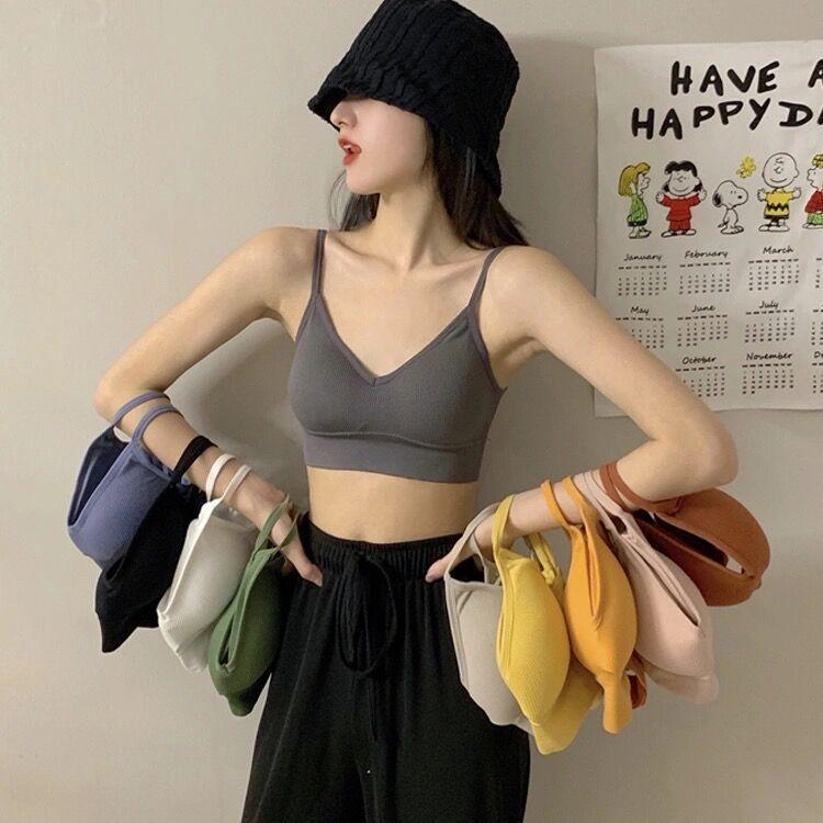 内衣女美背夏季薄款韩版学生高中生性感交叉带背心无钢圈聚拢抹胸