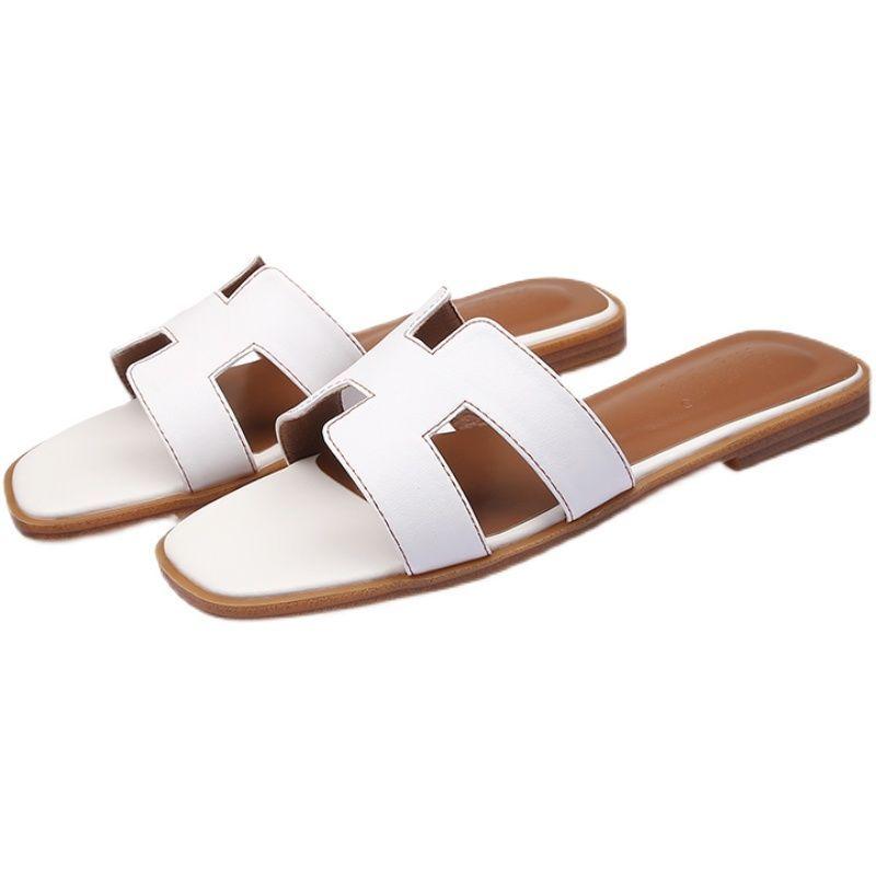 54294-2021新款网红h拖鞋女夏平底时尚外穿真皮韩版沙滩旅游鞋一字拖鞋-详情图
