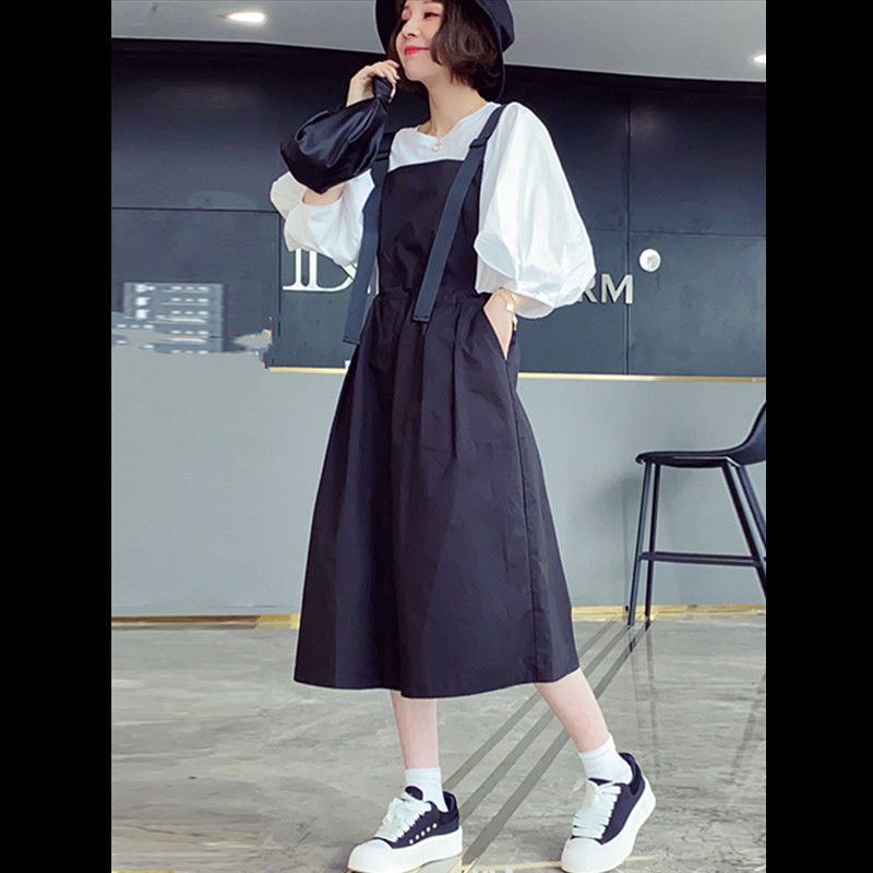 热卖新款欧洲站2021夏季新品背带裤两件套宽松气质显瘦纯棉吊带I