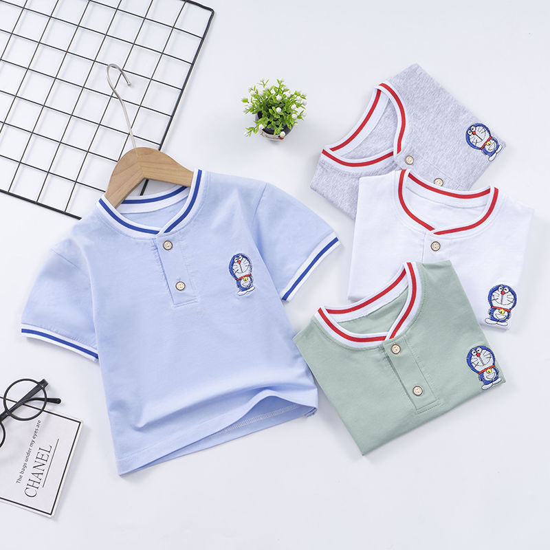 夏季新儿童短袖纯棉POLO衫男童绣花t恤
