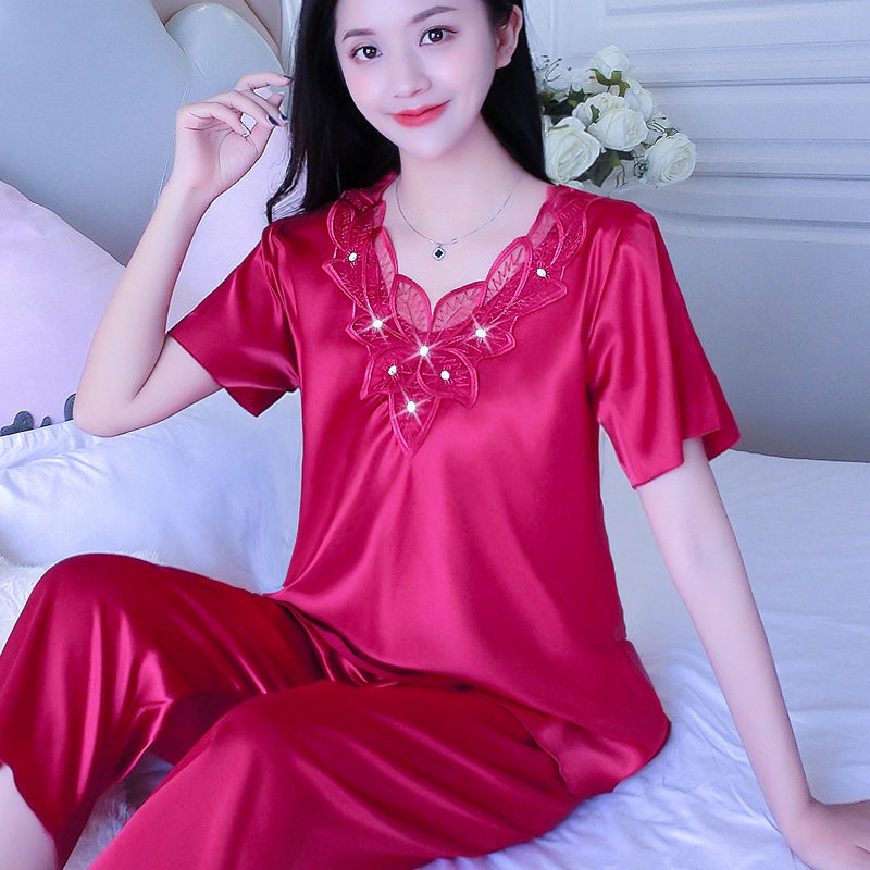 夏季睡衣女夏短袖新款丝绸夏天性感套装女士大码冰丝可外穿家居服