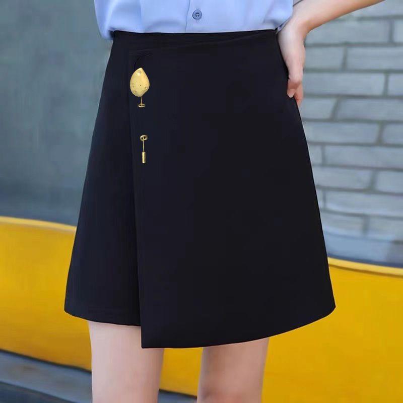 黑色高腰防走光a字短裙2021年新款时尚