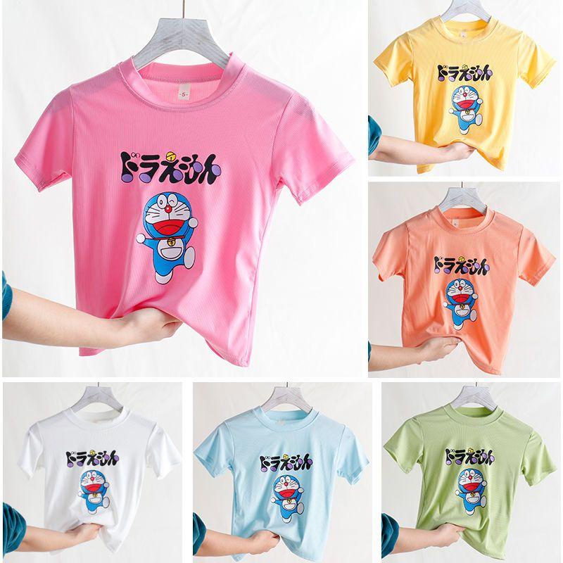 儿童短袖面膜T恤2021新款男女儿童圆领纯色T恤夏季儿童冰丝短袖