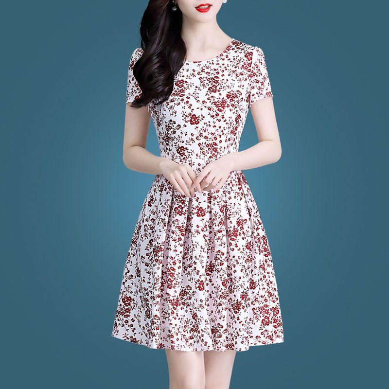 碎花连衣裙女2021新款夏装妈妈短袖a字裙减龄印花时尚洋气中长裙