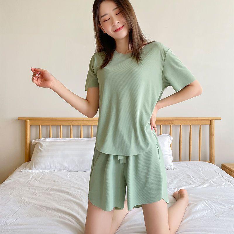 冰丝睡衣女夏季薄款短袖两件套装