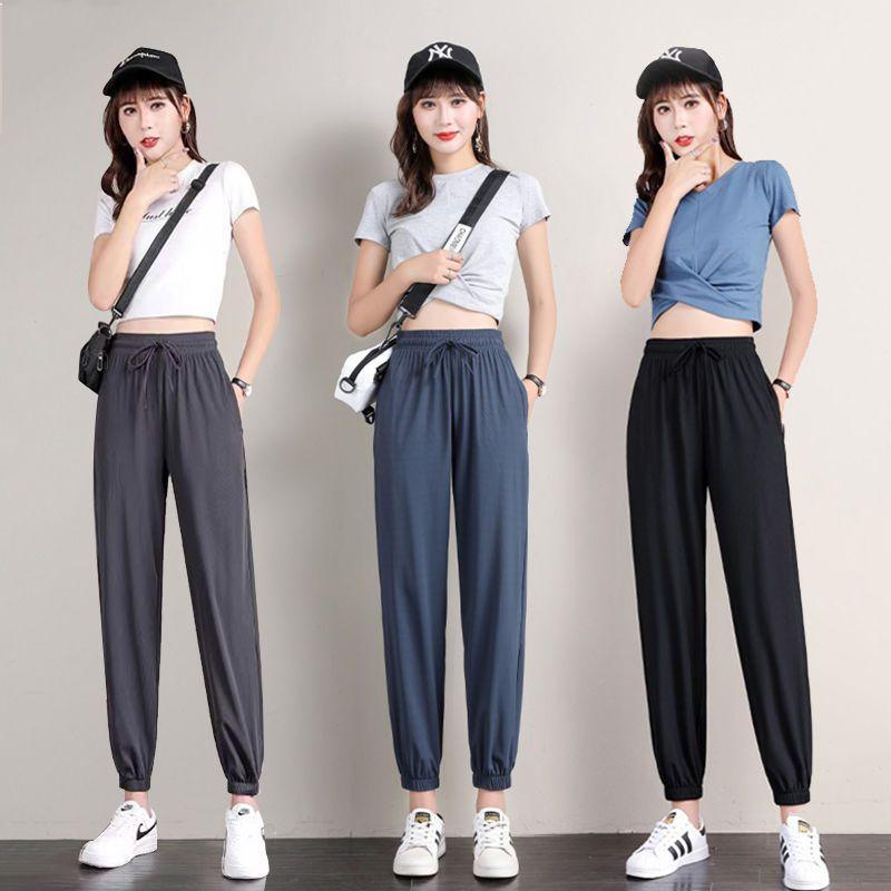 冰丝运动裤女宽松束脚夏季薄款2021新款家居睡裤垂感休闲灯笼裤