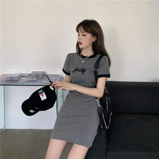 灰色修身T恤裙新款夏季女装韩版短袖连衣裙