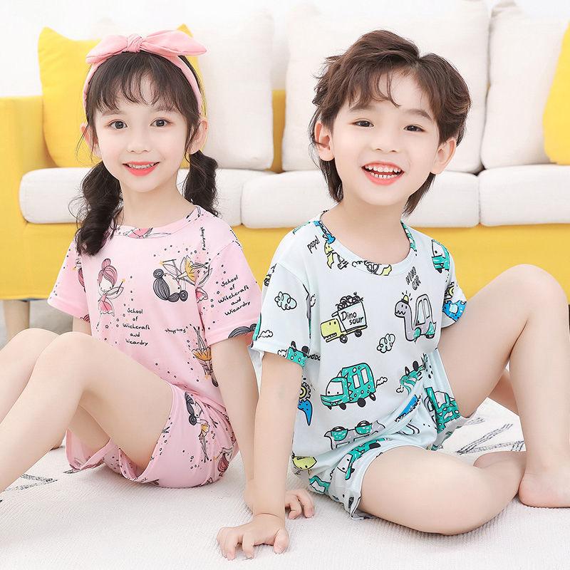 2021夏季新款儿童睡衣男童女童小孩空调服薄款短袖小宝宝上衣套装
