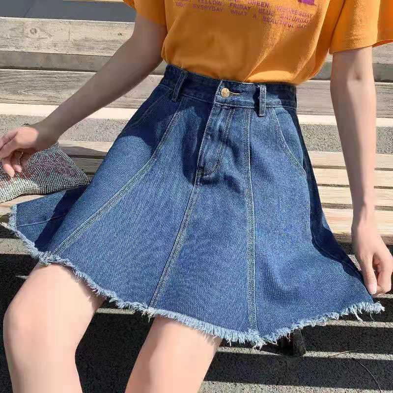 牛仔短裙夏半身a字伞裙高腰胖mm