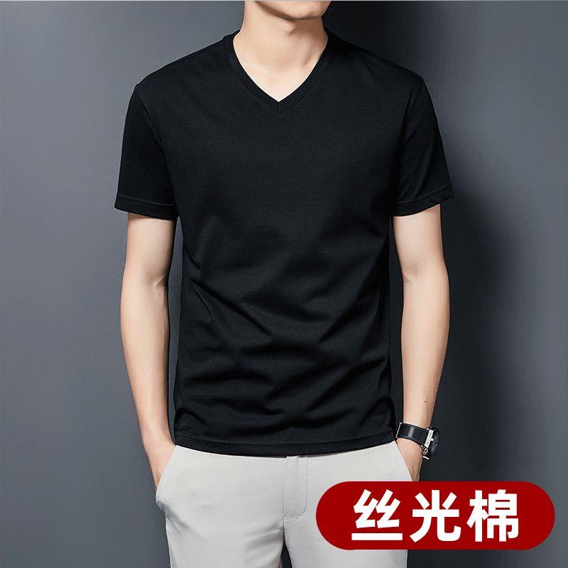 2021夏季新款内搭百搭纯色男士短袖V领修身潮流黑色t恤大码装半袖