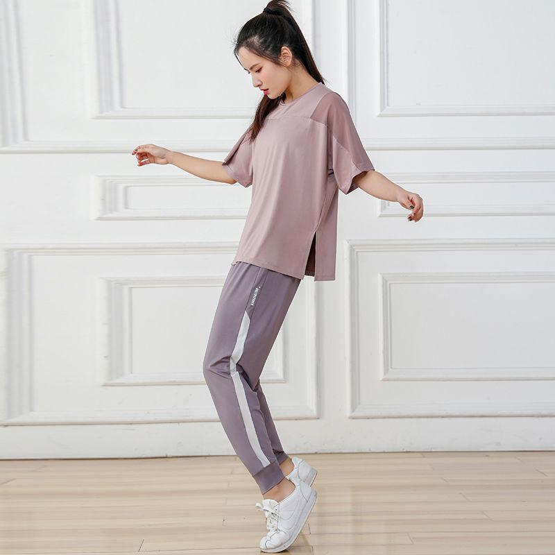 健身跑步套装女宽松夏短袖速干运动套装晨跑女薄款瑜伽服套装胖mm