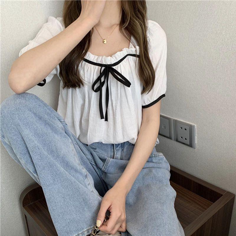 法式蝴蝶结显瘦百搭木耳边方领短袖衬衫上衣