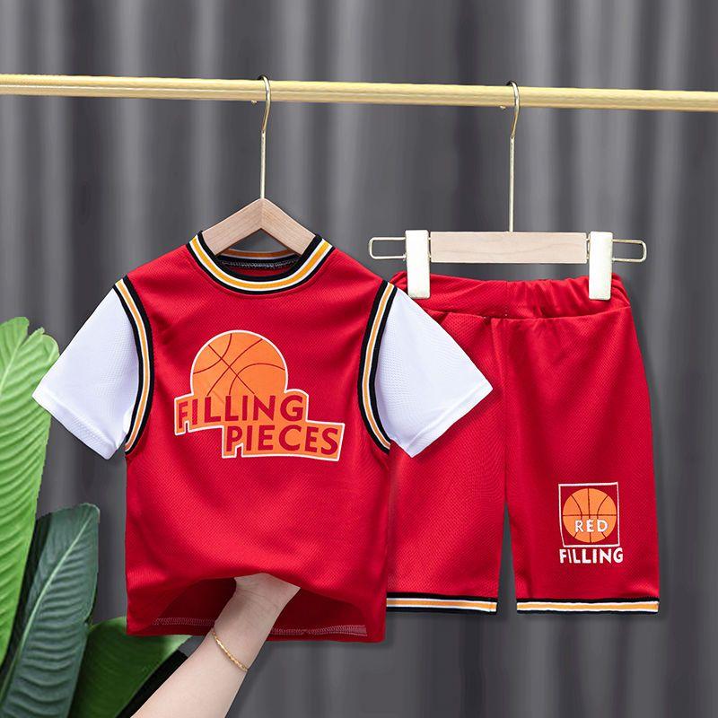 儿童套装男童运动套装夏季新款篮球服套装中大童女童短袖两件套潮
