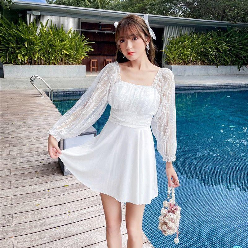 微胖mm大码泳衣女士韩国ins性感遮肚显瘦泡温泉裙式连体裙裤保守
