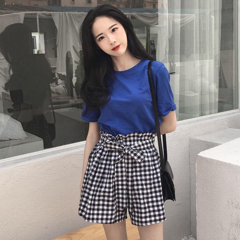 夏装韩版圆领时尚套装女 宽松显瘦短袖T恤