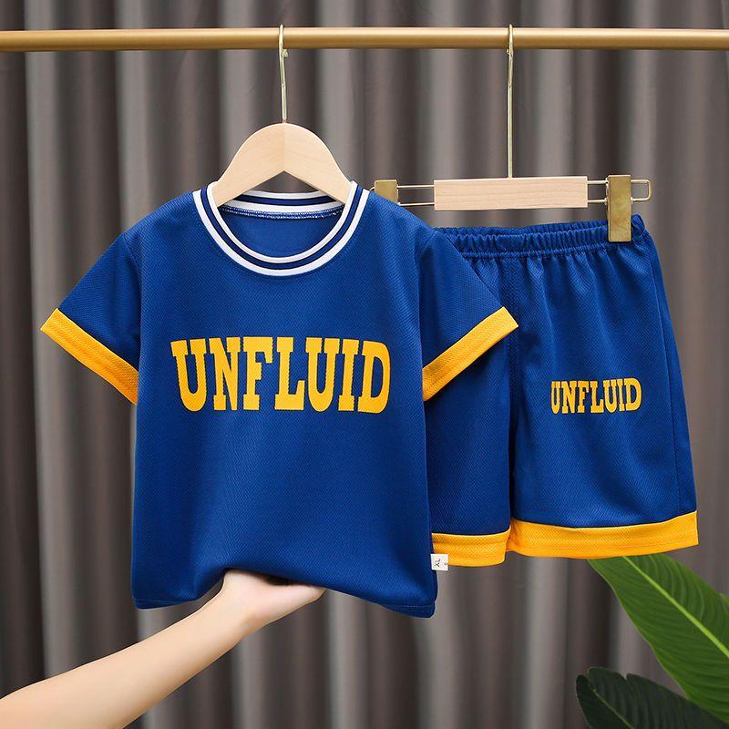 儿童短袖短裤速干衣套装夏季新款男女童运动服中大童宝宝两件套潮