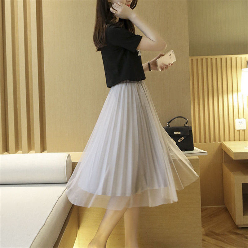 夏季新款网纱半身裙韩版高腰显瘦