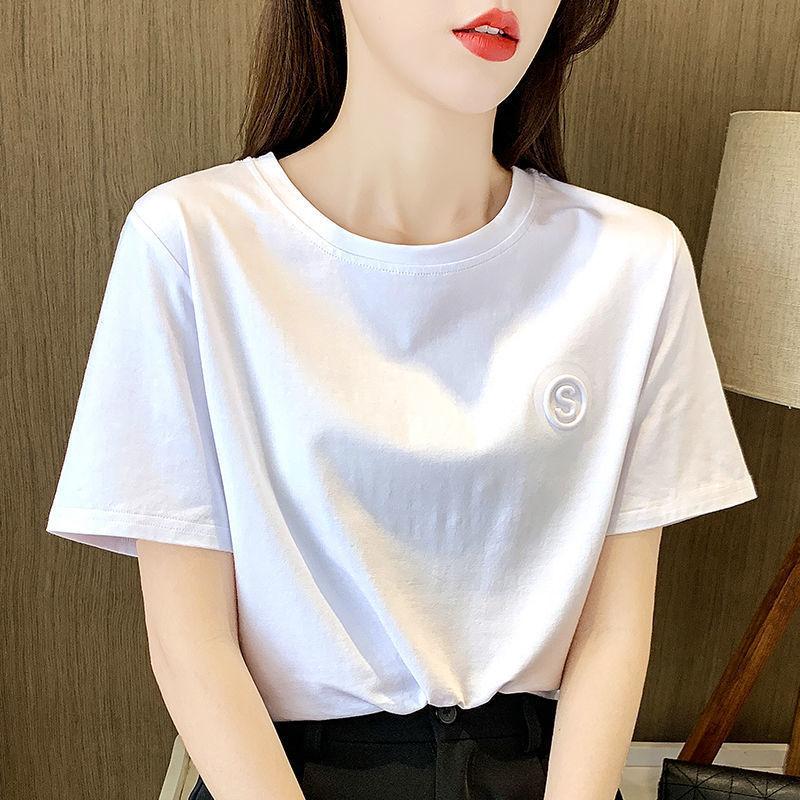 【含棉】白色女士短袖t恤女2021新款