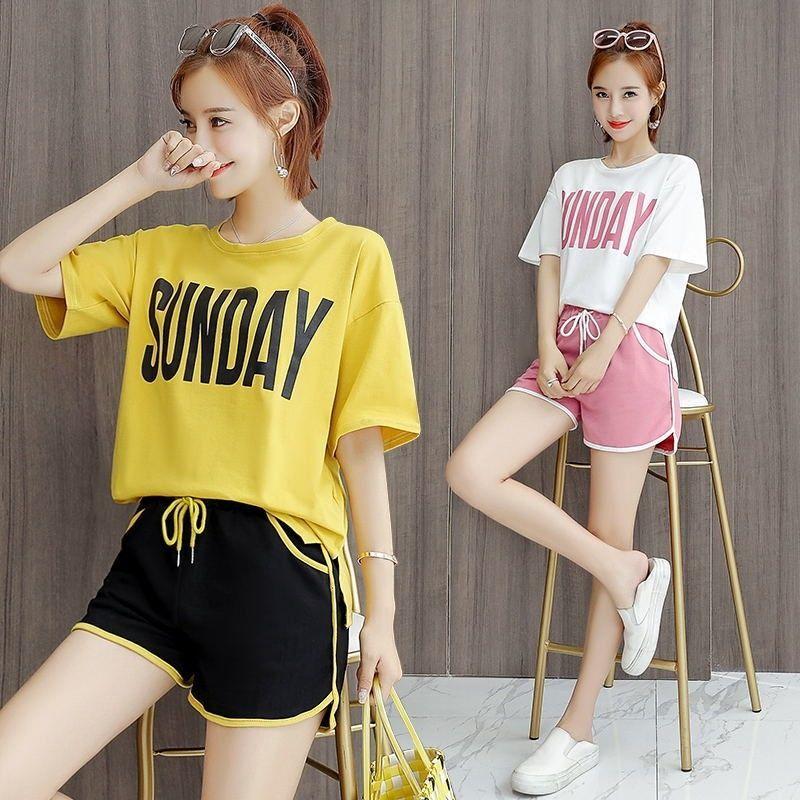 2021新款棉睡衣女夏季学生ins韩版运动宽松家居服外穿短裤两件套
