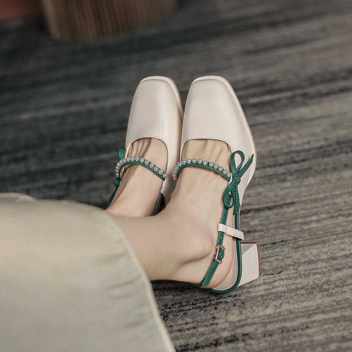 热卖新款后空中跟单鞋2021年新款春夏蝴蝶结珍珠方头高跟玛丽珍粗