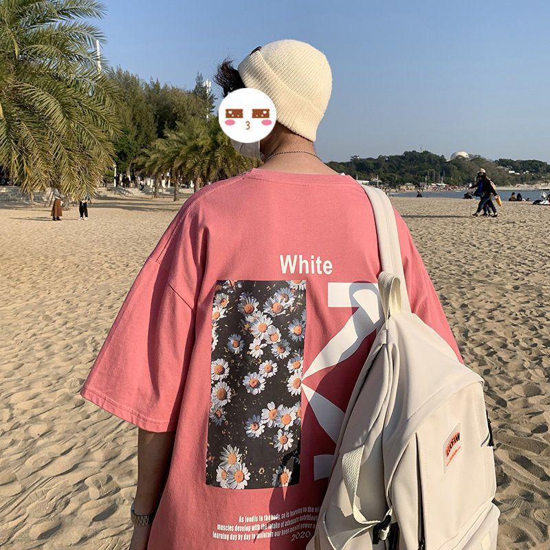 纯棉t恤男宽松潮流百搭ins超火夏季新款情侣上衣港风短袖体恤
