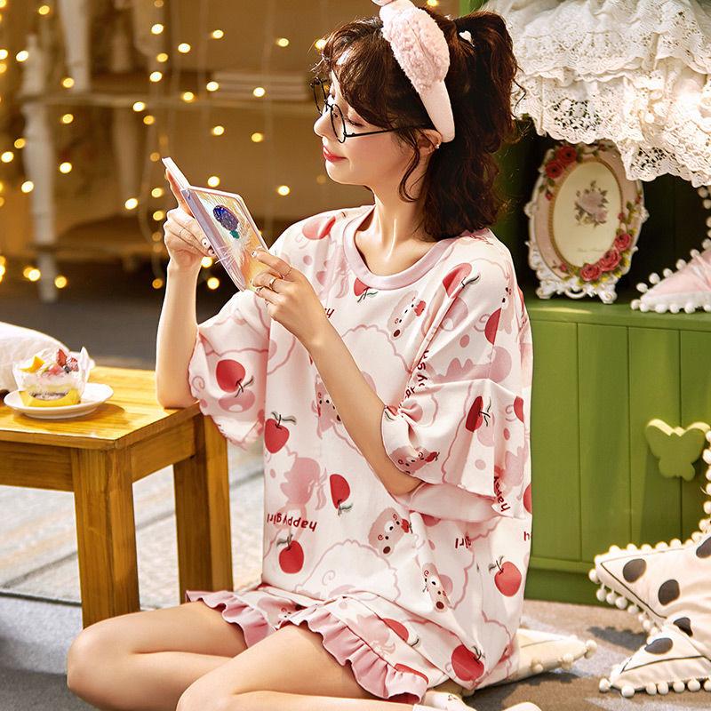 网红爆款睡衣女夏季短袖纯棉薄两件套装2021年新款夏天女生家居服