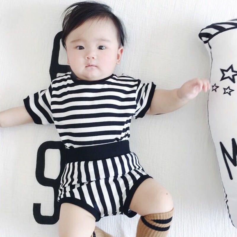 婴儿短袖T恤套装女纯棉男宝宝条纹夏洋气