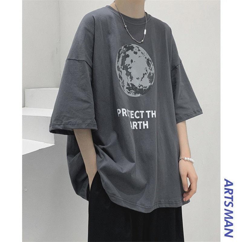 新款纯棉夏季短袖t恤男2021新款港风潮牌宽松百搭半袖ins上衣男潮