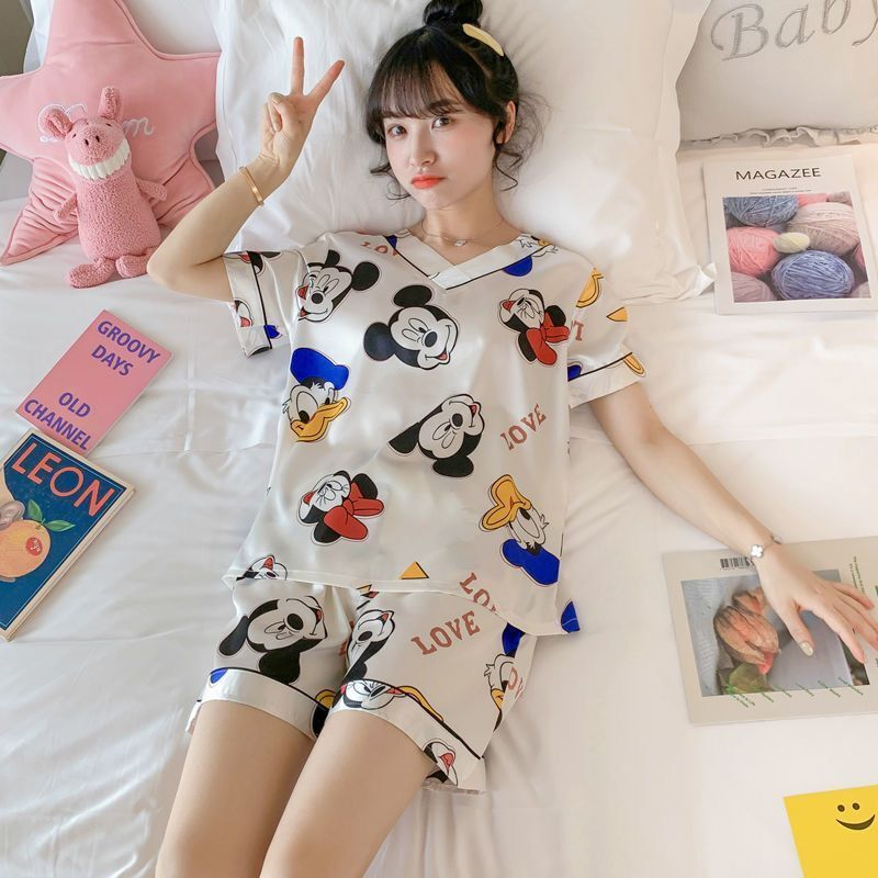 冰丝睡衣女夏薄款短袖学生韩版可爱加大码仿