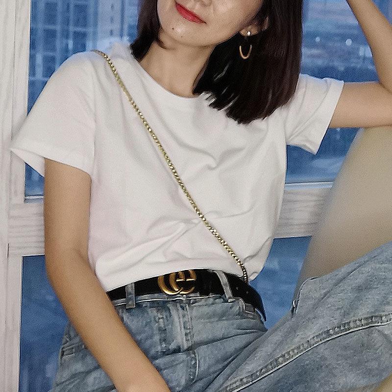 纯棉白色t恤女短袖ins夏季新款宽松休闲短款黑色t桖半袖纯色上衣