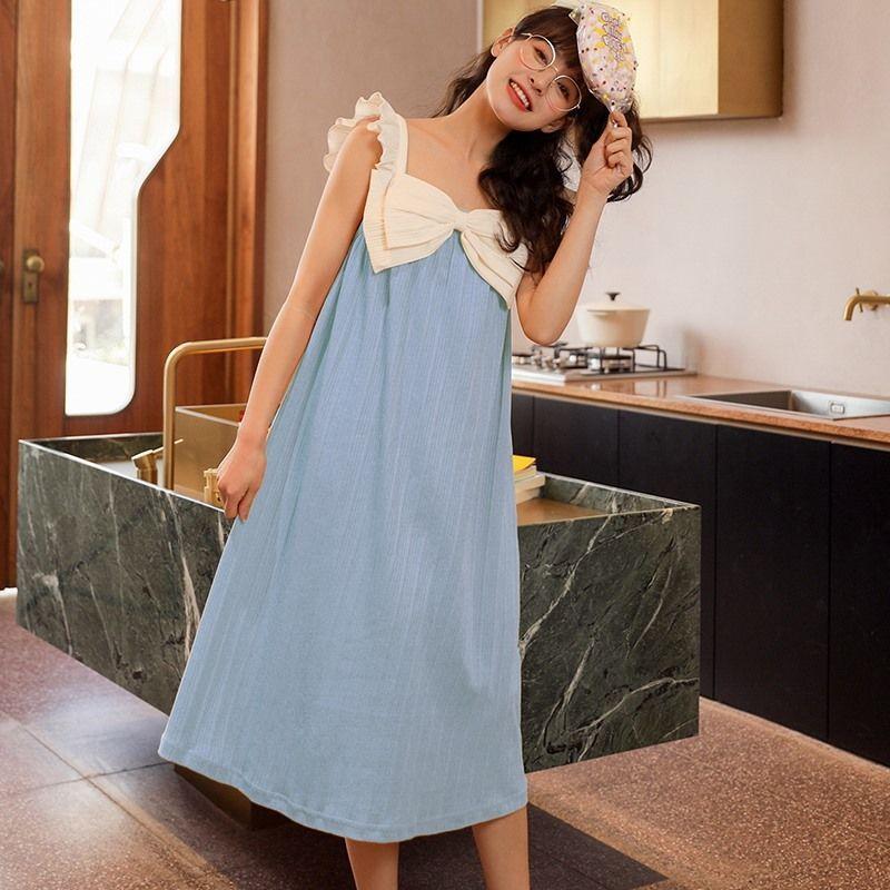 吊带睡裙女夏季纯棉宽松大码薄款可爱学生时尚公主风可外穿家居服