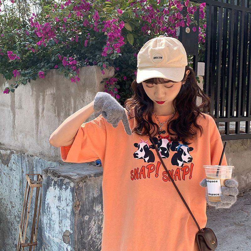 37796-2021新款夏季牛牛印花图案韩版宽松ins短袖休闲T恤女学生显瘦上衣-详情图