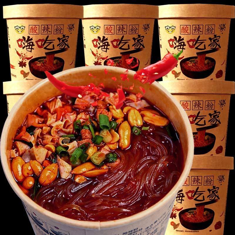牙哥酸辣粉嗨吃家整箱批发重庆红薯粉宿舍速食品网红零食小吃6桶